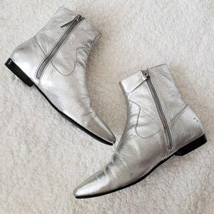 Zara Basic Metallic Silver Pointed Toe Boots